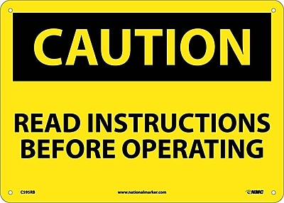 Caution, Read Instructions Before Operating, 10X14, Rigid Plastic