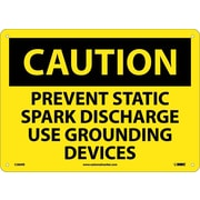Caution, Prevent Static Spark Discharge Use Grounding Devices, 10X14, Rigid Plastic