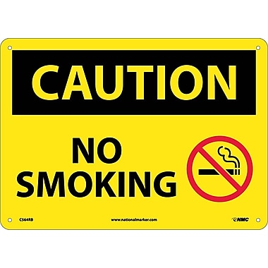 Caution, No Smoking, Graphic, 10X14, Rigid Plastic