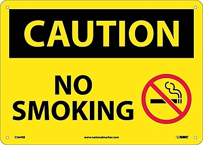 Caution, No Smoking, Graphic, 10X14, Rigid Plastic