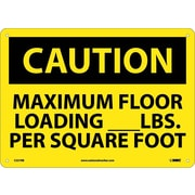 Caution, Maximum Floor Loading__Lbs. Per Square Foot, 10X14, Rigid Plastic