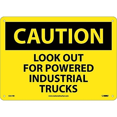 Caution, Look Out For Powered Industrial Trucks, 10X14, Rigid Plastic