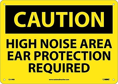 Caution, High Noise Area Ear Protection Required, 10X14, Rigid Plastic