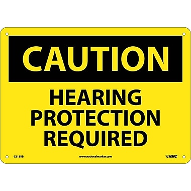 Caution, Hearing Protection Required, 10X14, Rigid Plastic