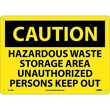 Caution, Hazardous Waste Storage Area Unauthorized Persons Keep Out, 10X14, Rigid Plastic