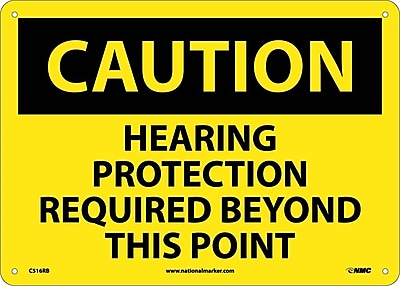 Caution, Hearing Protection Required Beyond This Point, 10X14, Rigid Plastic