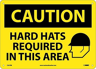 Caution, Hard Hats Required In This Area, Graphic, 10X14, Rigid Plastic