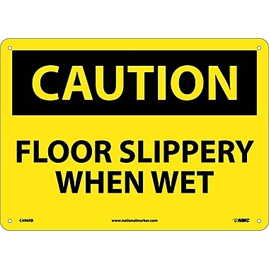 Caution, Floor Slippery When Wet, 10X14, Rigid Plastic