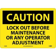Caution, Lock Out Before Maintenance Or Any Operator Adjustment, 10X14, Rigid Plastic