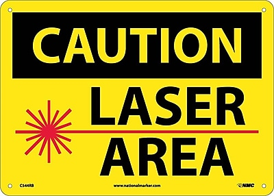 Caution, Laser Area, Graphic, 10X14, Rigid Plastic