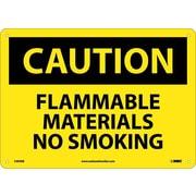 Caution, Flammable Materials No Smoking, 10X14, Rigid Plastic