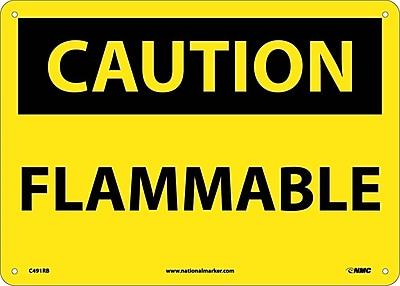 Caution, Flammable, 10X14, Rigid Plastic
