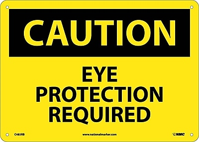 Caution, Eye Protection Required, 10X14, Rigid Plastic