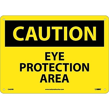 Caution, Eye Protection Area, 10X14, Rigid Plastic
