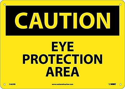 Caution, Eye Protection Area, 10X14, Rigid Plastic