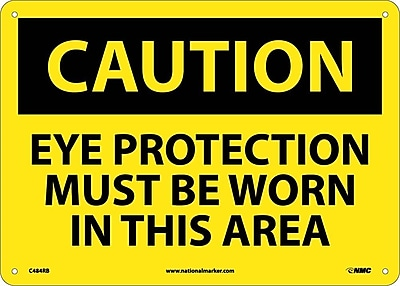 Caution, Eye Protection Must Be Worn In This Area, 10X14, Rigid Plastic