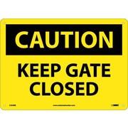 Caution, Keep Gate Closed, 10X14, Rigid Plastic