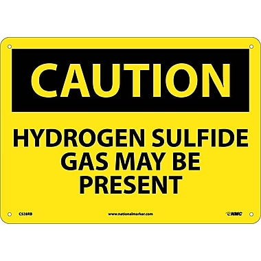 Caution, Hydrogen Sulfide Gas May Be Present, 10X14, Rigid Plastic
