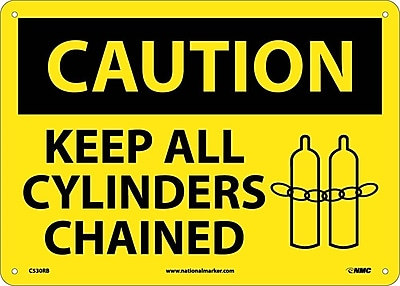 Caution, Keep All Cylinders Chained, Graphic, 10X14, Rigid Plastic