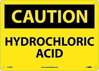 Caution, Hydrochloric Acid, 10X14, Rigid Plastic