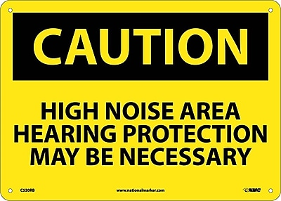 Caution, High Noise Area Hearing Protection May Be Necessary, 10X14, Rigid Plastic