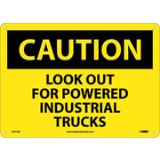 Caution, Look Out For Powered Industrial Trucks, 10X14, .040 Aluminum
