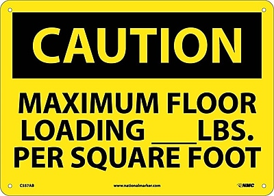 Caution, Maximum Floor Loading__Lbs. Per Square Foot, 10X14, .040 Aluminum