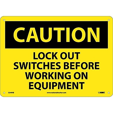 Caution, Lock Out Switches Before Working On Equipment, 10X14, .040 Aluminum