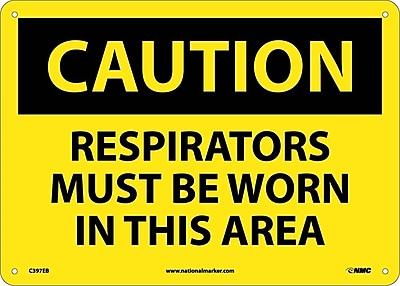 Caution, Respirators Must Be Worn In This Area, 10X14, Fiberglass