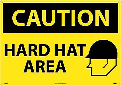 Caution, Hard Hat Area, Graphic, 20X28, Rigid Plastic