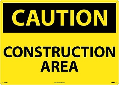 Caution, Construction Area, 20X28, Rigid Plastic