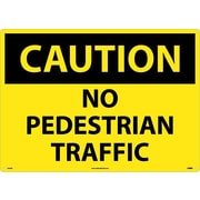 Caution, No Pedestrian Traffic, 20X28, Rigid Plastic