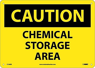 Caution, Chemical Storage Area, 10X14, Fiberglass