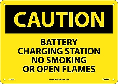 Caution, Battery Charging Station No Smoking. . ., 10X14, Fiberglass