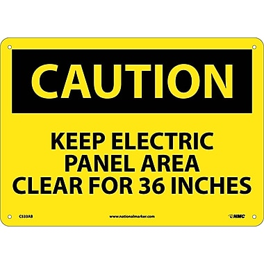 Caution, Keep Electric Panel Area Clear For 36 Inches, 10X14, .040 Aluminum