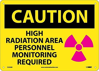 Caution, High Radiation Area Personnel Monitoring Required, Graphic, 10X14, .040 Aluminum