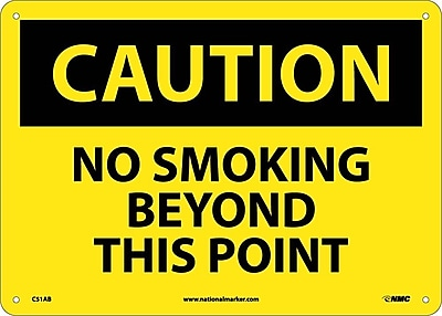 Caution, No Smoking Beyond This Point, 10X14, .040 Aluminum