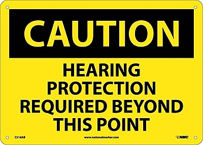 Caution, Hearing Protection Required Beyond This Point, 10X14, .040 Aluminum