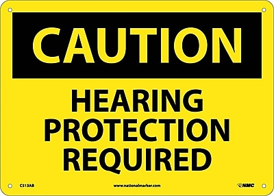 Caution, Hearing Protection Required, 10X14, .040 Aluminum