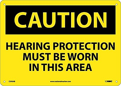 Caution, Hearing Protection Must Be Worn In This Area, 10X14, .040 Aluminum
