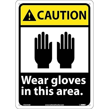 Caution, Wear Gloves In This Area, 14X10, .040 Aluminum
