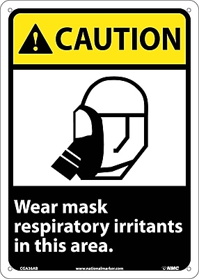 Caution, Wear Mask Respiratory Irritants In This Area, 14X10, .040 Aluminum