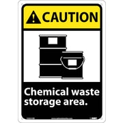 Caution, Chemical Waste Storage Area, 14X10, .040 Aluminum