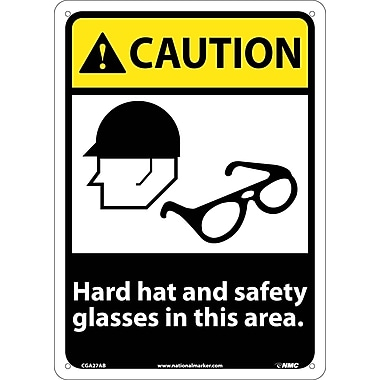 Caution, Hard Hat And Safety Glasses In This Area, 14X10, .040 Aluminum