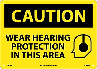 Caution, Wear Hearing Protection In This Area, Graphic, 10X14, .040 Aluminum