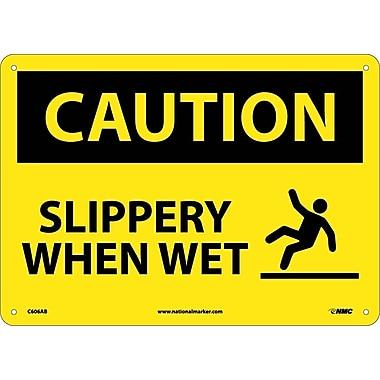 Caution, Slippery When Wet, Graphic, 10X14, .040 Aluminum