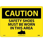 Caution, Safety Shoes Must Be Worn In This Area, Graphic, 10X14, .040 Aluminum