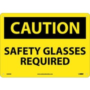 Caution, Safety Glasses Required, 10X14, .040 Aluminum