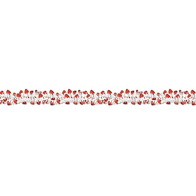 Beistle 12' Flame Resistant Metallic Heart Garland, Red/White, 3/Pack