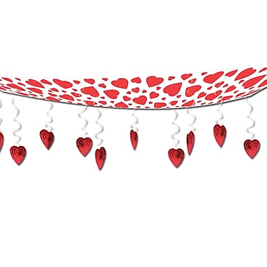 Hearts Ceiling Decoration, Red And White, 12